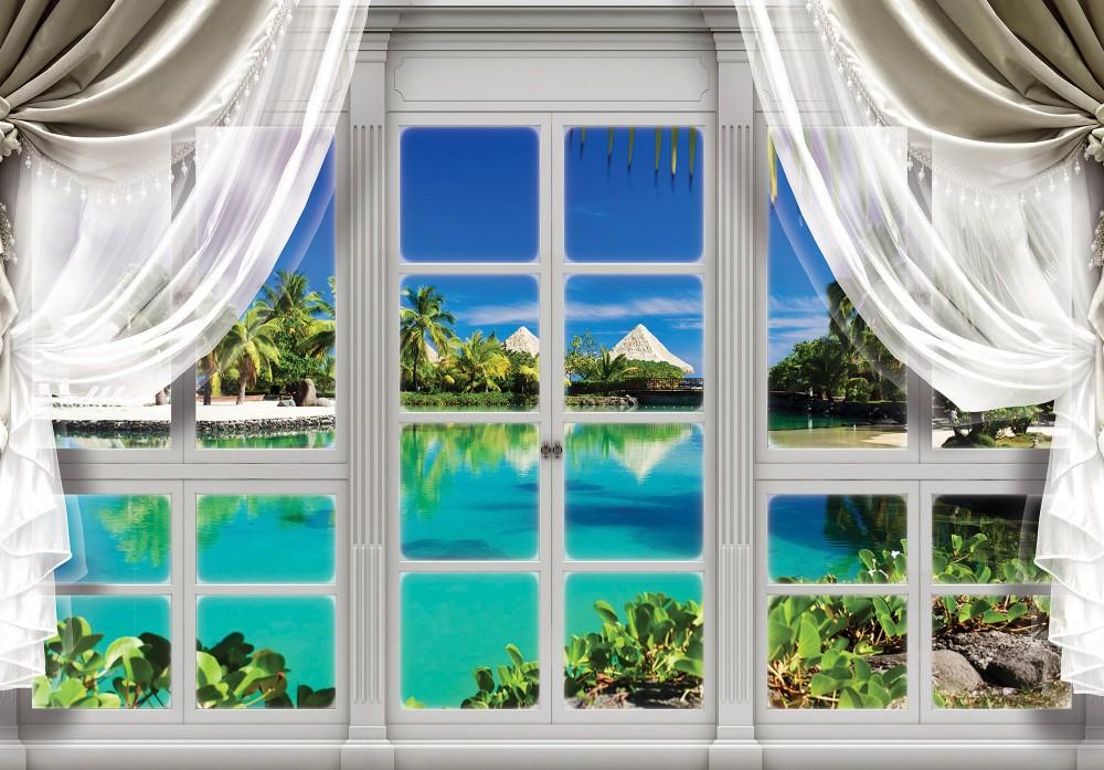 Lagunára néző ablak poszter, fotótapéta (368 x 254 cm)