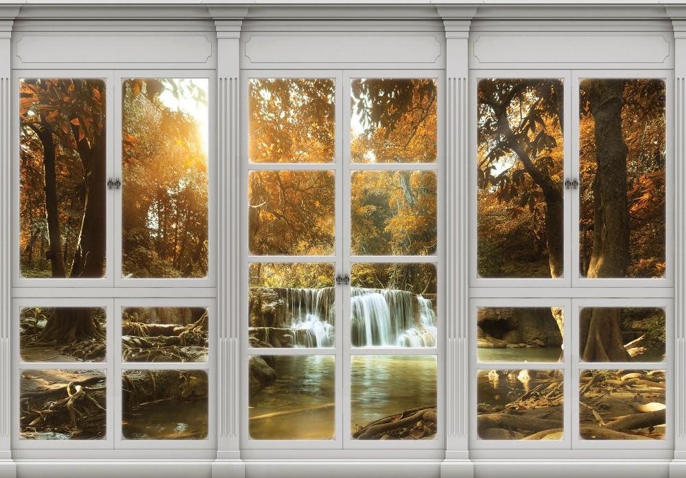 Erdei vízesés az ablakból poszter, fotótapéta (368 x 254 cm)