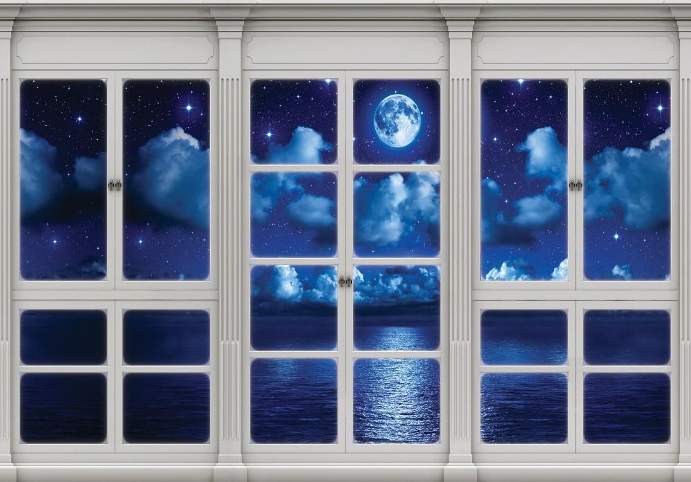 Teliholdra néző ablak poszter, fotótapéta Vlies (312 x 219 cm)