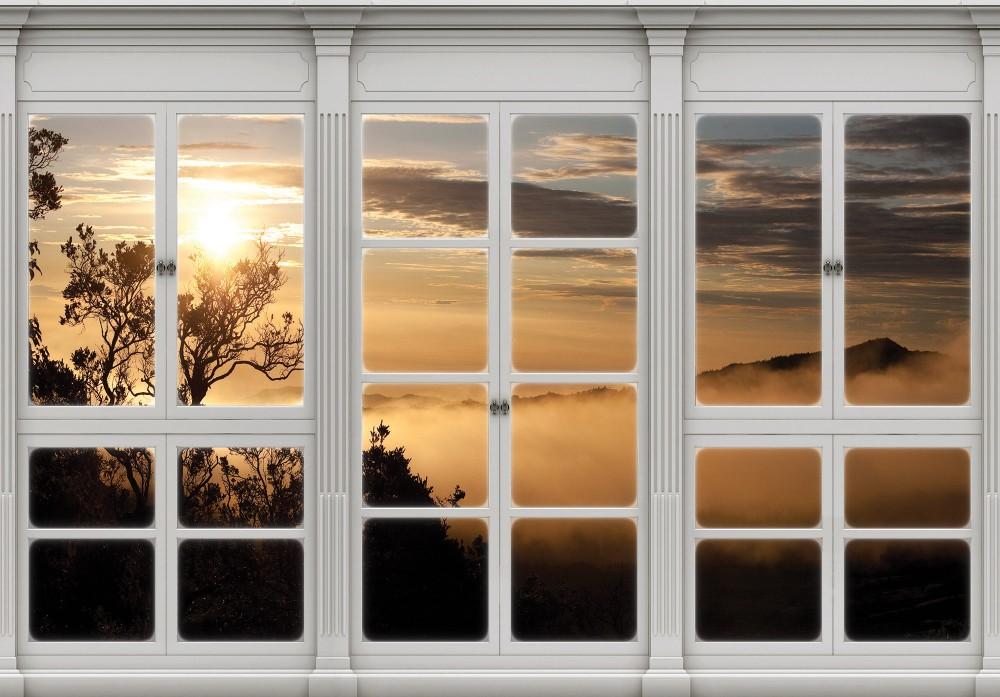 Naplementére néző ablak poszter, fotótapéta Vlies (254 x 184 cm)
