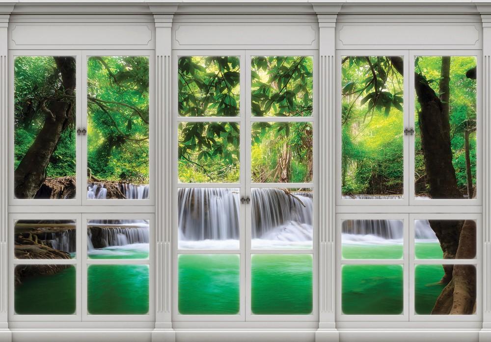 Vízesésre néző ablak poszter, fotótapéta, Vlies (104 x 70,5 cm)