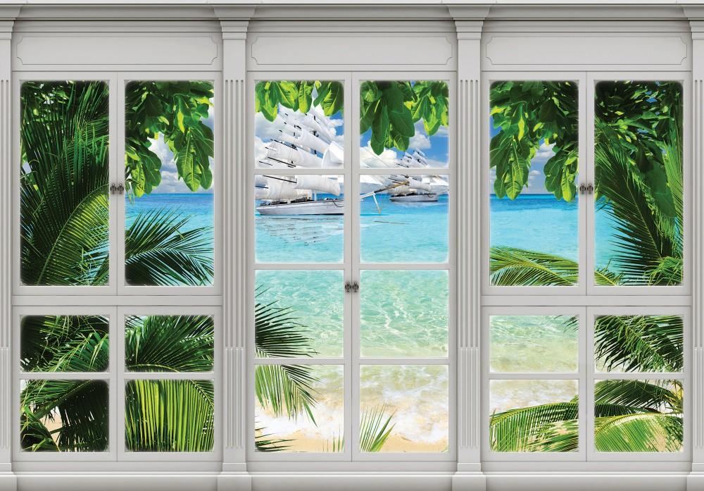 Vitorlásokra néző ablak poszter, fotótapéta 10647 több méretben, alapanyagban