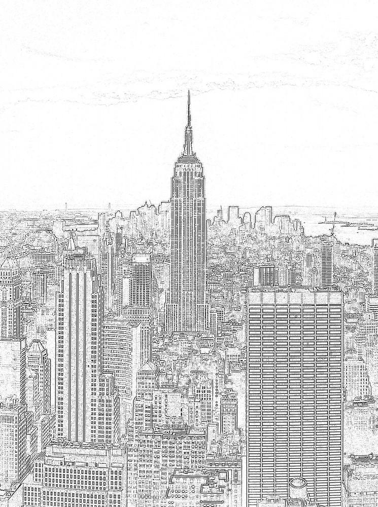 New York körvonalai poszter, fotótapéta, Papír (184x254 cm, álló)