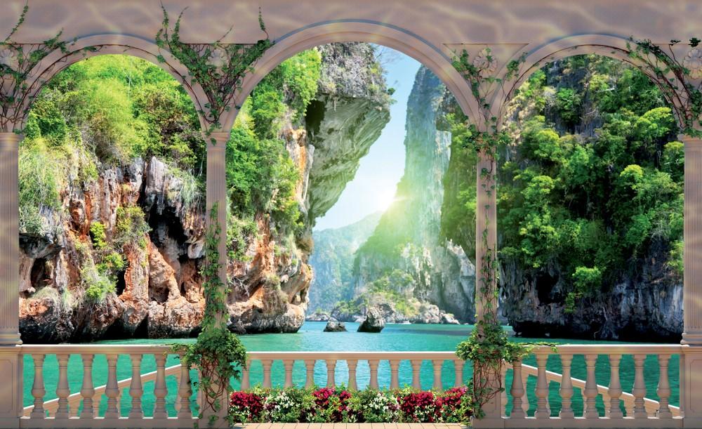 Vízesés a teraszról poszter, fotótapéta Vlies (152,5 x 104 cm)
