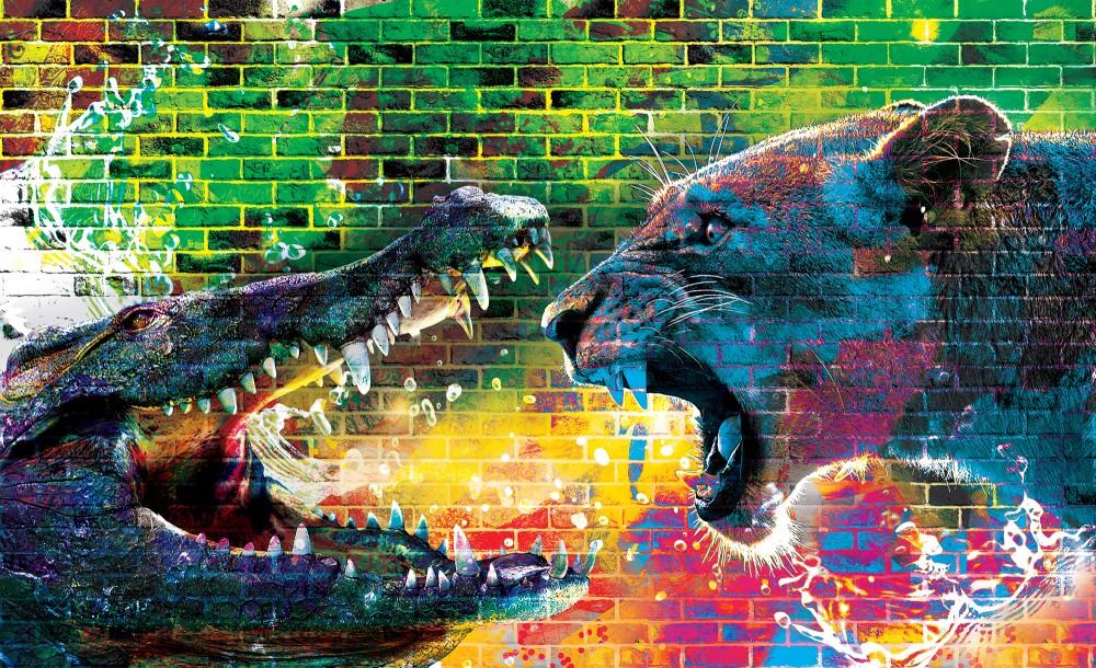 Krokodil vs. oroszlán fotótapéta több méretben, alapanyagban