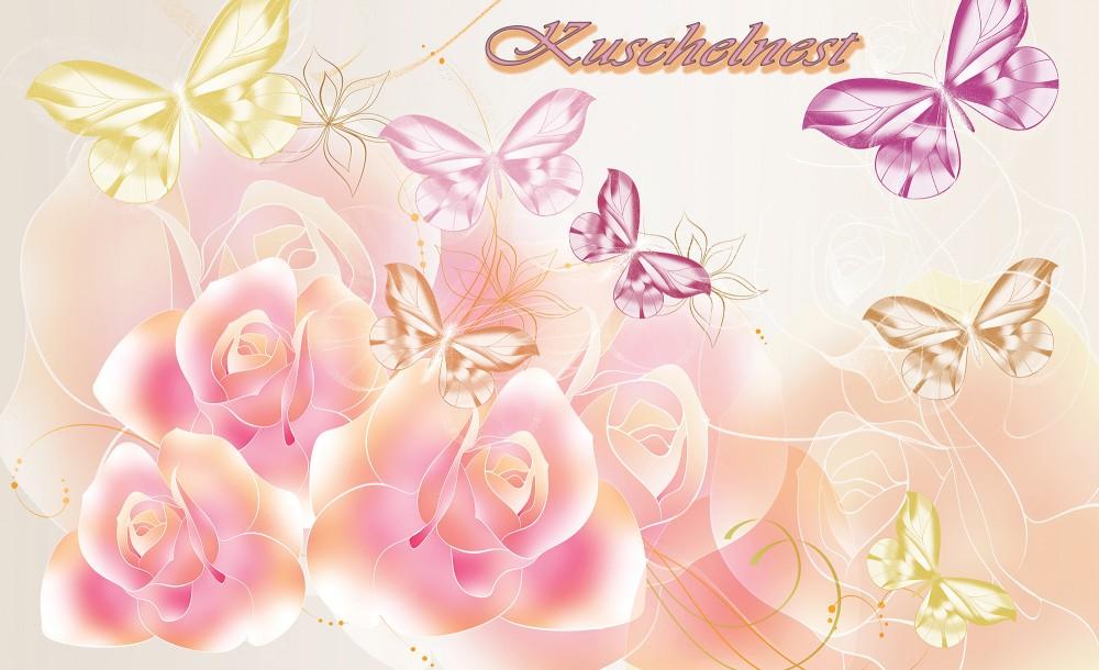 Virágok és pillangók fotótapéta több méretben, alapanyagban